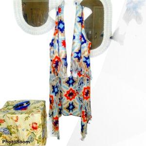 GROOVY GLAM Handmade Fringed Long Aztec Vest